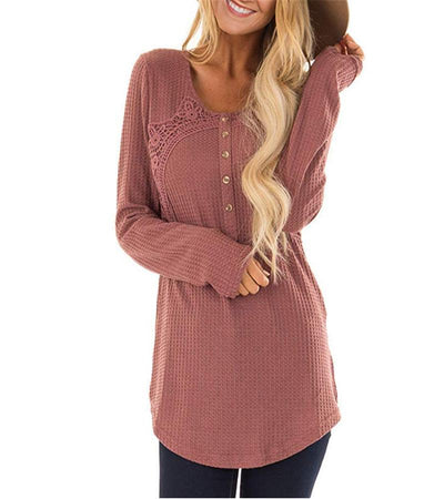 Round Neck Long Sleeve Lace Patchwork Casual T-Shirts