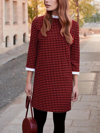 PAVACAT PLAID ROUND NECK LEISURE SHIFT DRESS