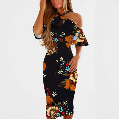 Fashion Off shoulder Vest Floral Bodycon Dresses