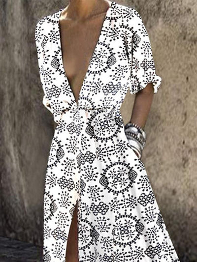 Sexy print deep v slit high waist maxi dress