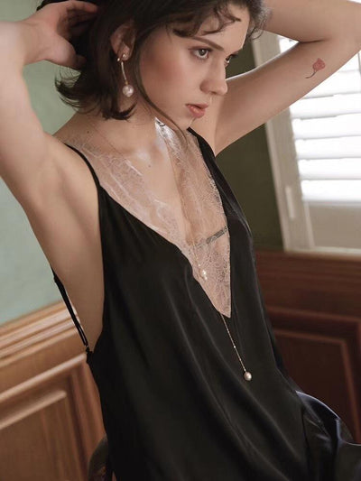 Sexy  V neck Vest Pajamas Shift Dresses
