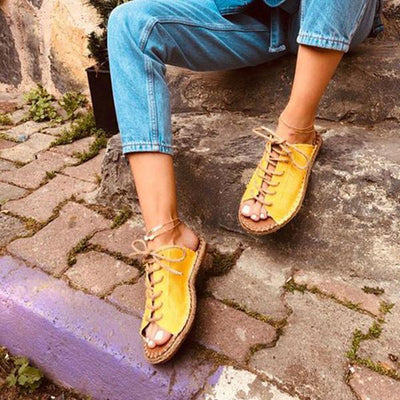 Women Fashion Casual Summer Lace Up Slide Sandals