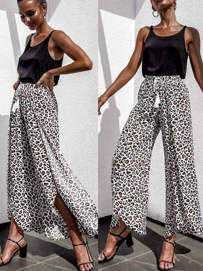 Sexy high waist lace tassel trousers leopard printed long pants