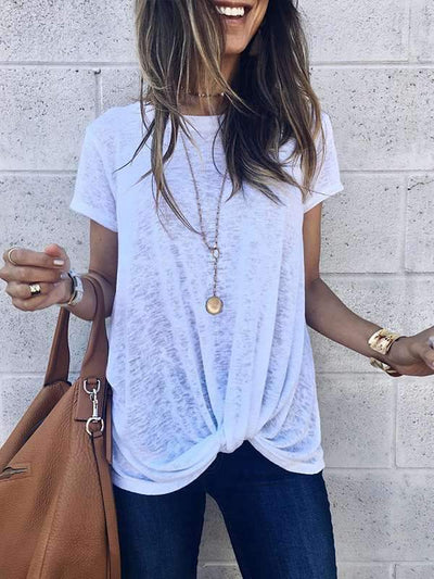 Fashion Round Neck Short Sleeves Irregular Crossed T-shirts