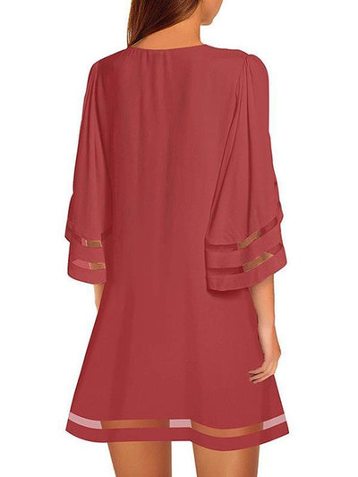 Women Flare Sleeve Round Neck Summer Shift Dresses