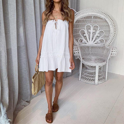 Fashion Vest Drawstring Casual Shift Dresses