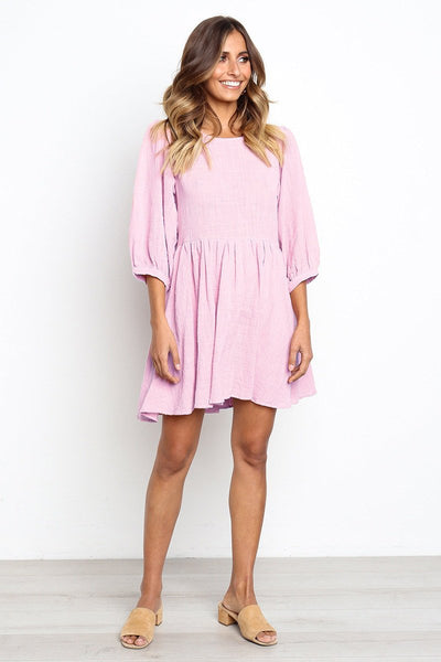 Round Neck Lantern Sleeve Pleated Casual Dresses