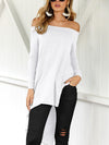Fashion Off Shoulder Plain Color Long-sleeved Shirt with Irregular Hem