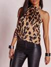 Fashion  Sexy Leopard Backless T-Shirts