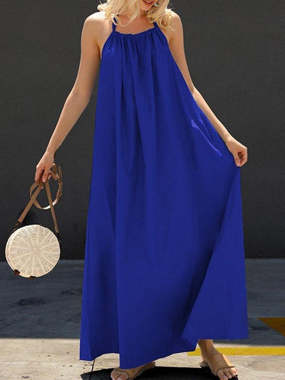 Sexy plain backless big hem halter neck halter back maxi dress