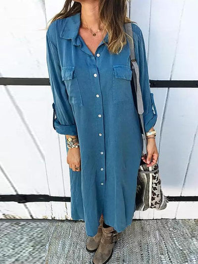 Button down long sleeve shirt shift dress