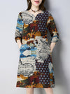 Abstract Printed Long Sleeve Casual Dress