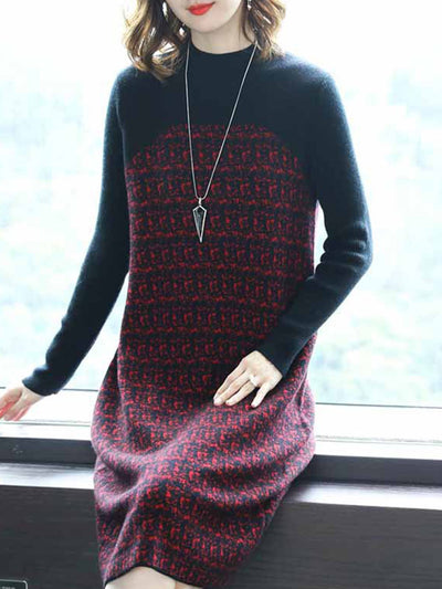 Abstract Paneled Long Sleeve Knitted Dress
