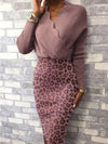 Fashion leopard printed patchwork long sleeve buttock high-waisted bodycon dress