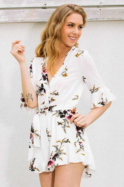 Sexy V neck Floral Falbala Jumpsuits
