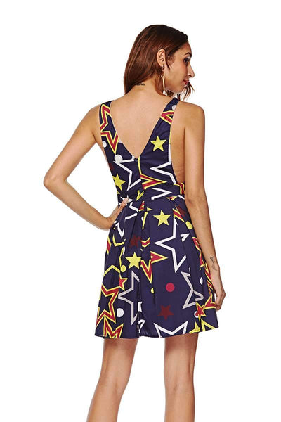 Print V neck Sleeveless Backless  Skater Dresses