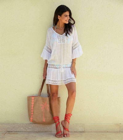 Fashion Lace Gored Lacing Vacation Dresses
