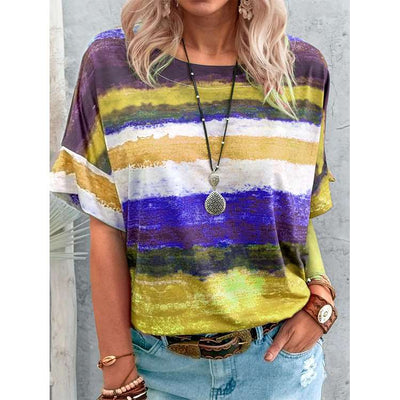 Casual Stripe Round neck Short sleeve T-Shirts