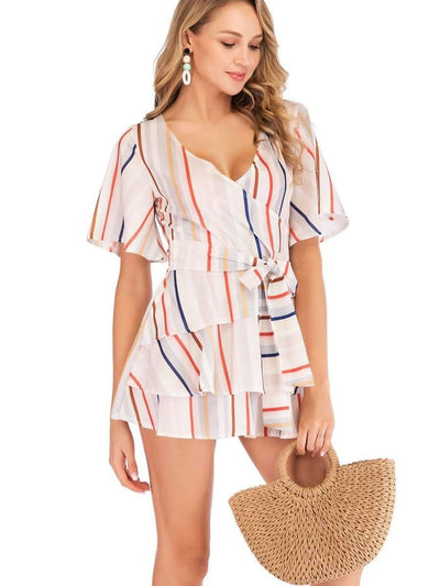 V neck Stripe Short sleeve Lacing Shift Dresses