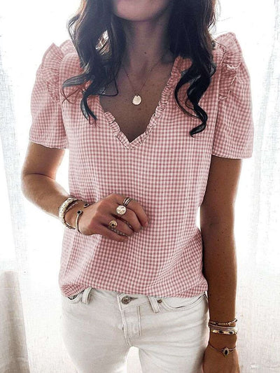 Fashion Plaid print V nwxk Short sleeve Shirt