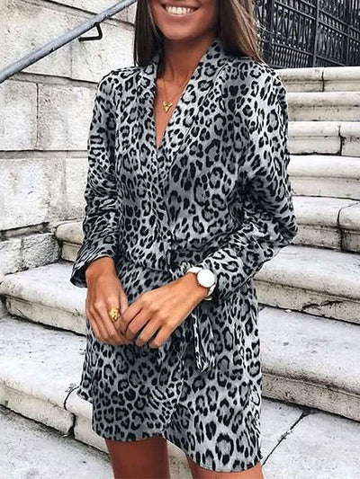 Stylish Leopard print Lapel Long sleeve Lacing Irregular Shift Dresses
