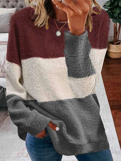 Plush Gored Round neck Long sleeve Sweatshirts
