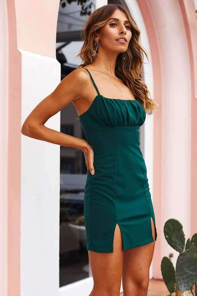 Sexy Off shoulder Drape Vent Bodycon Dresses