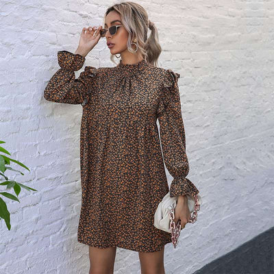 Casual Print Half high collar Long sleeve Falbala Shift Dresses