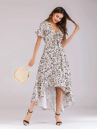 Fashion V neck Print Skater Maxi Dresses