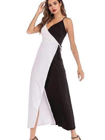 Fashion Vest Gored Maxi Dresses