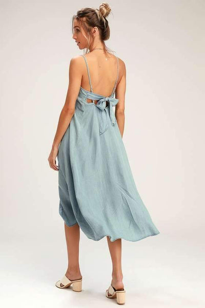Fashion Jean Vest Bowknot Maxi Dresses