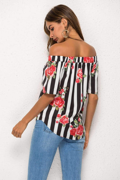 Floral Off shoulder Stripe Blouses