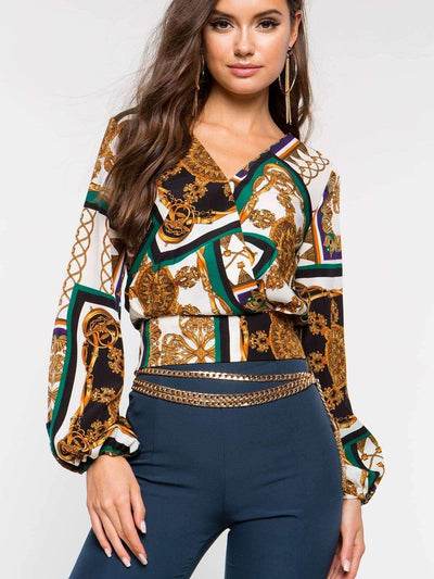 Floral Long sleeve V neck Blouses