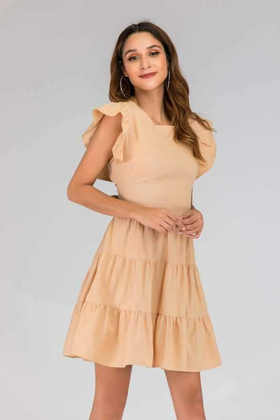 Backless Bowknot Drape Skater Dresses
