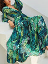 Summer V Neck Long Sleeve Chiffon Printed Leaf Maxi Vacation Dress