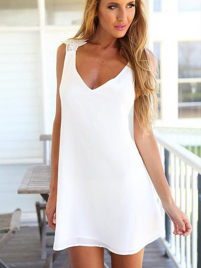 Casual Backless Vest Shift Dresses