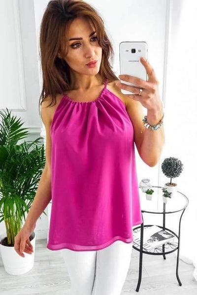 Fashion Casual Pure Round neck Sleeveless T-Shirts