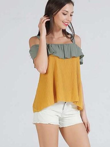 Off shoulder Falbala Vest T-Shirts