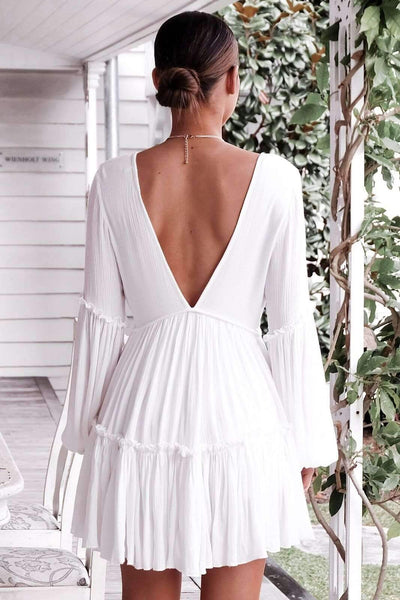 Sexy V neck Puff sleeve Shift Dresses
