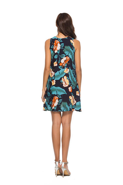 Floral Sleeveless Beach Shift Dresses
