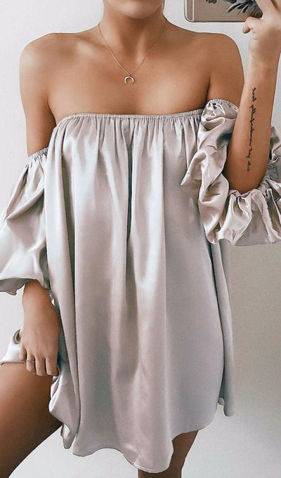 Sexy Off-Shoulder Pure Color Long Sleeve Evening Blouses