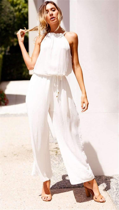 Fashion Sleeveless Halt Lacing Jumpsuits