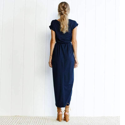 Pure Short sleeve Round neck Irregular Maxi Dresses