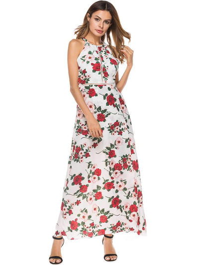 Fashion Sexy Backless Floral Maxi Dresses