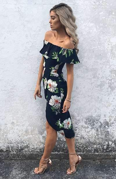 Off shoulder Vent Irregular Skater Dresses