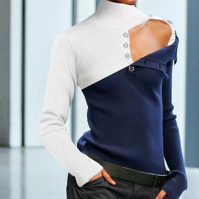Women Stitching Color Knitted Pullover Sweater