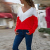 Color V-Neck Long Sleeve T-Shirt