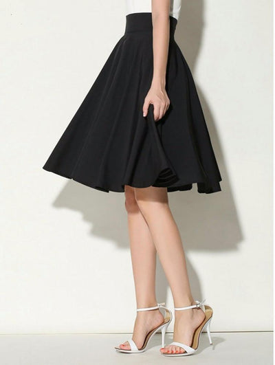 High Waist Pleated A Line Skater Skirt