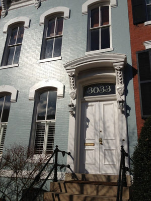 Georgetown DC home with traditional house numbers in gold by House Number Lab
