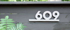 Modern House Number Plaque in Aluminum Neutra Font